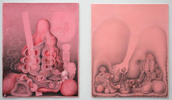 Kinke Kooi - Meten is Weten & Digging for Origin - Acrylverf, potlood, viltstift en uni stoca stift op gekleur papier