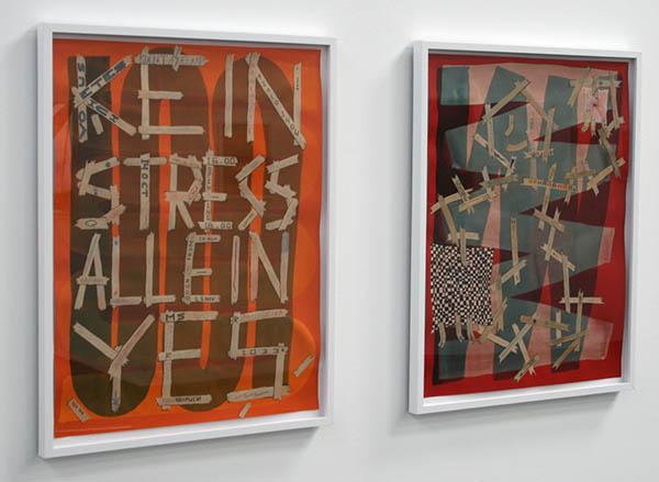 Koen Taselaar - Kein Stress Allein Yes & Untitled (Taptaptape) - 65x50cm Bleek, acrylverf, inkt en potlood op papier