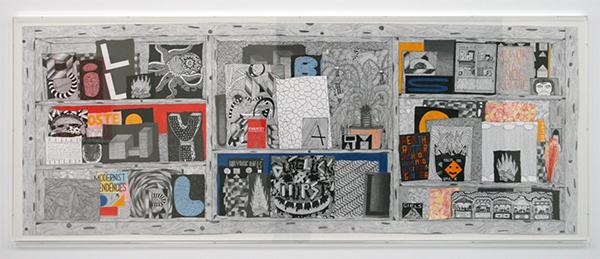 Koen Taselaar - Multititled 3 (Billy Blue Balls) - 75x200cm Mixed Media op papier