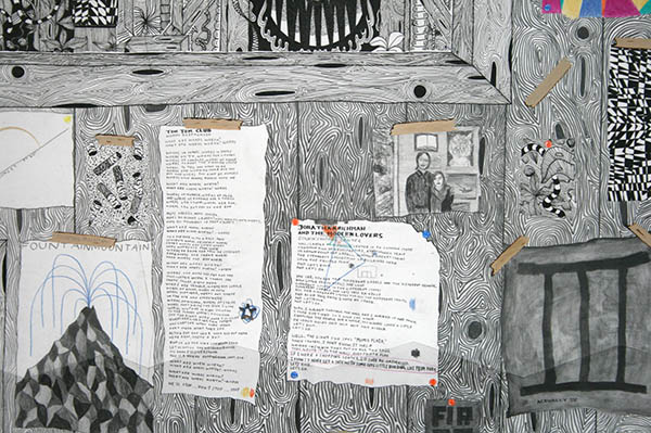 Koen Taselaar - Multititled 4 (Another Magnum Opus) - 195x136cm Mixed media op papier (detail)