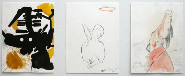 ManfreDe Schu - 6 Janner, In the Dark of Me & Versuchsanordnung - Pen, penseel, acquarelverf, grafiet en Oost-indische inkt op papier