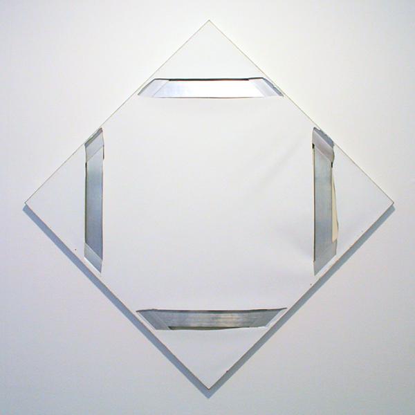 Marc Bijl - White Power (Lozenge Composition II with Structure) - 141x141cm Doek met insnijdingen