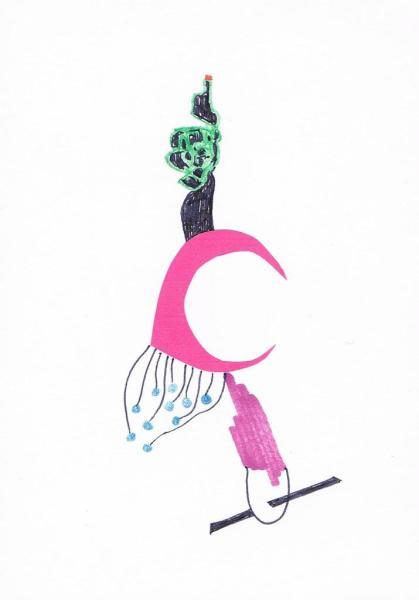 Marianne Plug - Leukerdje - A6, Viltstift en potlood op papier, 2015