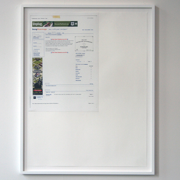 Marijn van Kreij - Untitled (Tags - Days, White on White) 65x50cm Collage met inktjetprint op papier