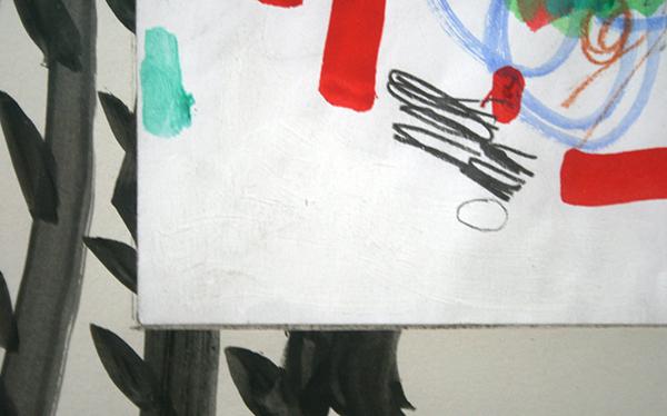 Marijn van Kreij - Untitled (Tags - Picasso, Days Like Television, Looks Just Like the Sun) - 42x30cm Collage, acrylverf, gouache inkt, pen en potlood op papier (detail)