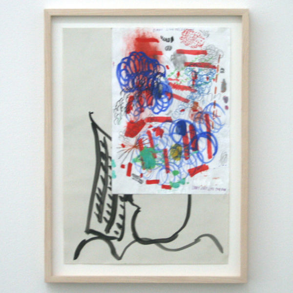 Marijn van Kreij - Untitled (Tags - Picasso, Days Like Television, Looks Just Like the Sun) - 42x30cm Collage, acrylverf, gouache inkt, pen en potlood op papier