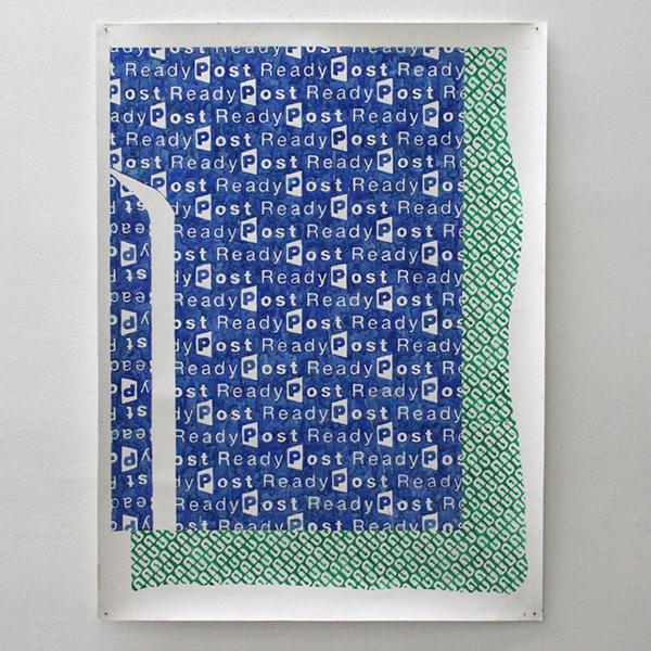 Marijn van Kreij - Untitled (Tags, ReadyPost, 0409, Go Folks, Go Forth, Trust Your Brain, Trust Your Body) - 124x93cm Gouache op papier