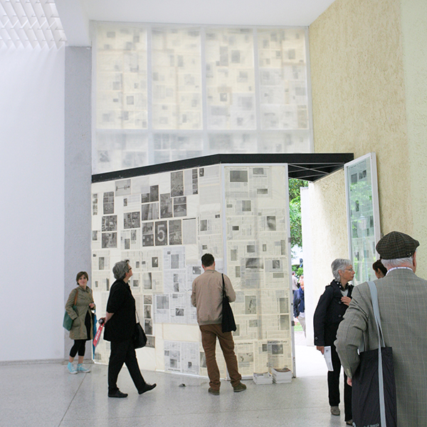 Mark Manders, Window with Fake Nieuwspapers, 2005-2013, offset print on paper, cellotape