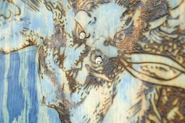 Matthew Day Jackson - All in one - 171x131cm Olieverf op paneel, plastic en koollstofvezel lijst (detail)
