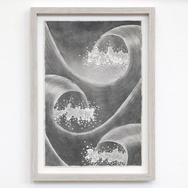 Matthew Fisher - Empty Quarter - 25x17cm Inkt en collage op antiek papier 2014