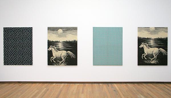 Michael Krebber - Flaggs (Against Nature) Fout Nights of a Dreamer, The Future Advertisement, Cezanne, M Teste - Textiel 2003