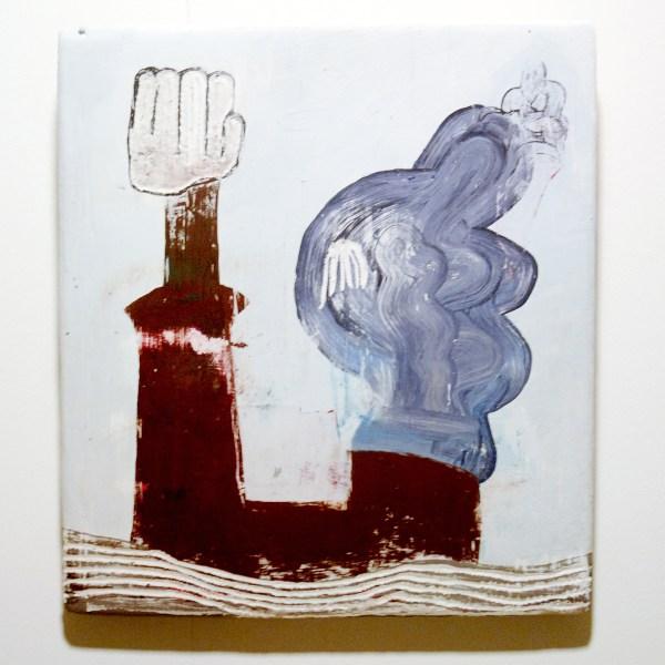 Nel Aerts - Op kop - Acrylverf en plamuur op hout 2011