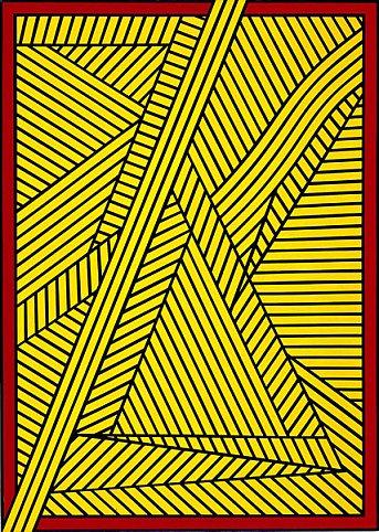 Nicholas Krushenick - Untitled (Second Look) - 35x25inch Acrylverf op linnen