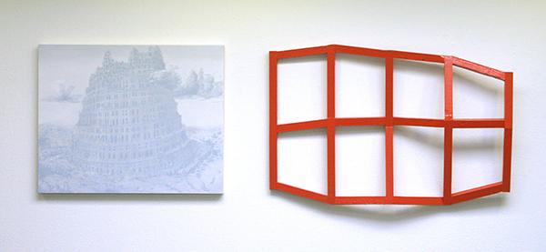 Niek Hendrix - Babel - 60x75cm Olieverf op canvas op paneel & Tijl Frijns - TOF, Brickred - 97x63cm Lak op vurenhout