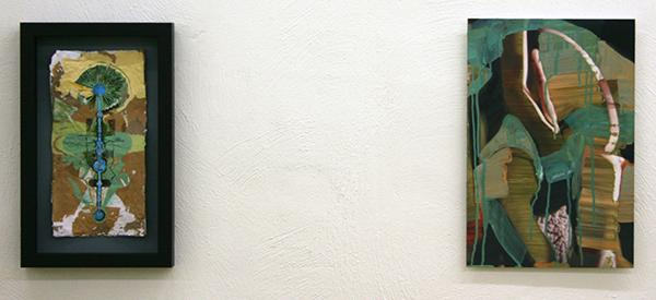 Niels Broszat - Werktekening van een Toverstafje - 34x18cm Acrylverf op zelfgemaakt papier & Jenny Wilson - The Painter - 45x30cm Olieverf op foto op dibond