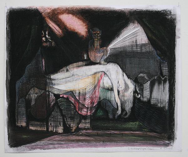 Nour-Eddine Jarram - La Cauchmar d'Apres Fussli - 50x60cm Pastel op papier