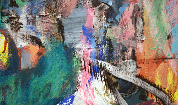 Omar Koubaa - Working with dark soil in a magnetic area 4 - 200x180cm Acrylverf op doek (detail)
