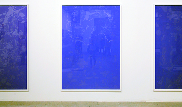 Pamela Rosenkranz, Because They Try to Bore Holes-Death of Yves Klein, 2013, plexiglas, foil, pigment inkjet prints, photo paper