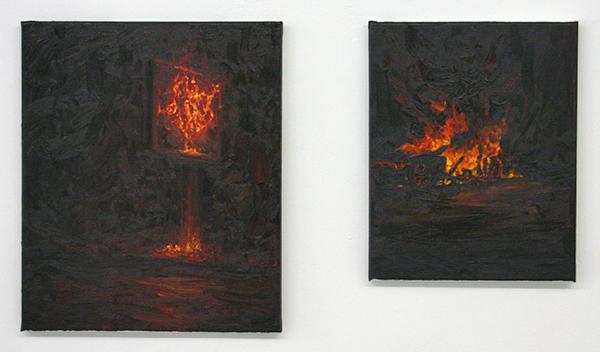 Pascal Bastiaenen - Fury and Flame & Jaguar - 70x60cm & 50x40cm Olieverf op doek