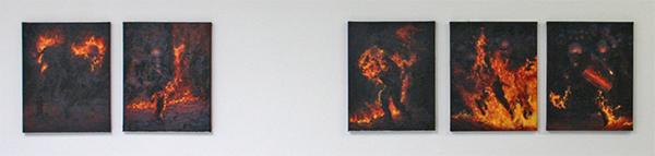 Pascal Bastiaenen - Molotov Solution (reeks) - 50x40cm Olieverf op doek