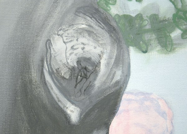 Pat Andrea - Summertree I - 160x160cm Olieverf en caseine op paneel (detail)