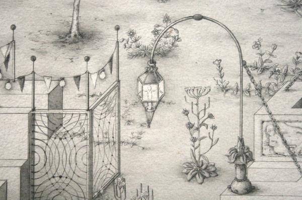 Paul Noble - Ye Olde Ruin - Grafiet op papier (detail)