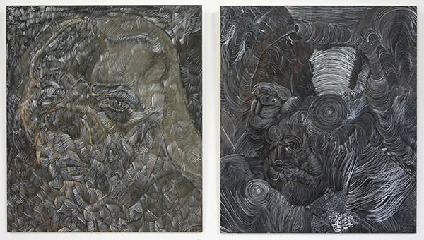 Philip Akkerman - #71 & #63 - 50x43cm Olieverf en tempera op paneel