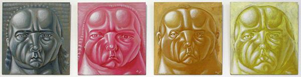 Philip Akkerman - #73, #68, #66 & #65 - 27x25cm Tempera op paneel