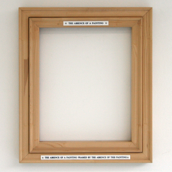 Pieter Engels - The Absence of a Painting Framed By the Absence of This Painting - 59x69x7cm Houten lijst en tekstplaten