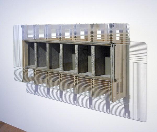 Reinhard Mucha - Zingst - metaal, floatglas, alkyd email geschilderd op achterzijde van glas, houten ladder, vilt en meubelplaat, 2014