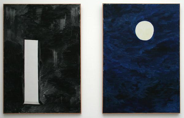 Rene Daniels - Een I treurend om een punt (Paneel A & Paneel B) - Olieverf op canvas