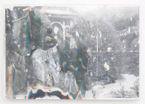 Robin Gerris - Desecrated space (I) Religious Ground - 56x38cm Laserjet en inkjet transfer en latex verf op hout