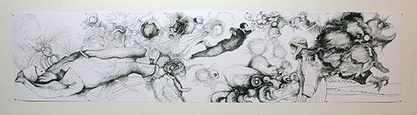 Rodirgo Suarez - Al Borde de un Grano de Arena - 46x200cm Mixed Media op papier