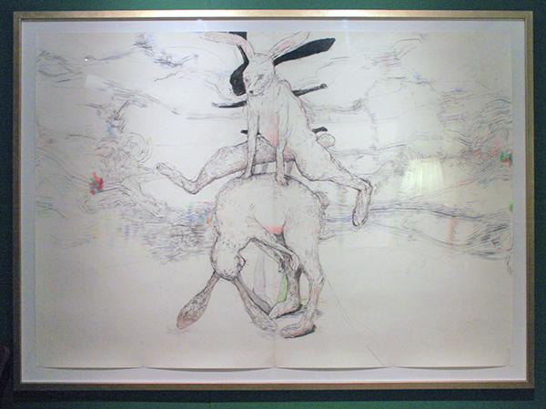 Roland Sohier - Haasje Over - Houtskool, (kleur)potlood en pastel op papier