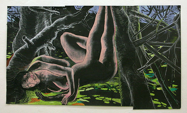 Roland Sohier - Sleeping Beauty #2 - 77x135cm Pastel en houtskool op zwart papier