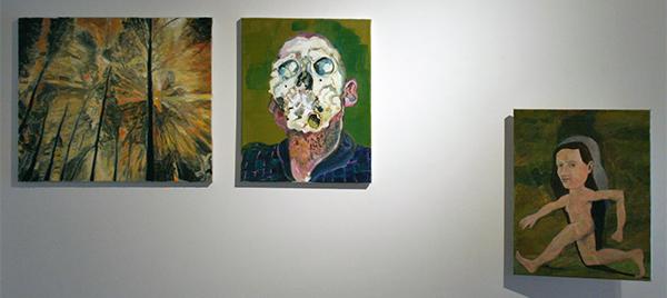 Ron Amir - Untitled - 40x50cm Olieverf op canvas & Larissa van Zanen - Untitled 40x30cm Olieverf op canvas & Roland Sohier - Vrouwtje - 50x40cm Olieverf op linnen