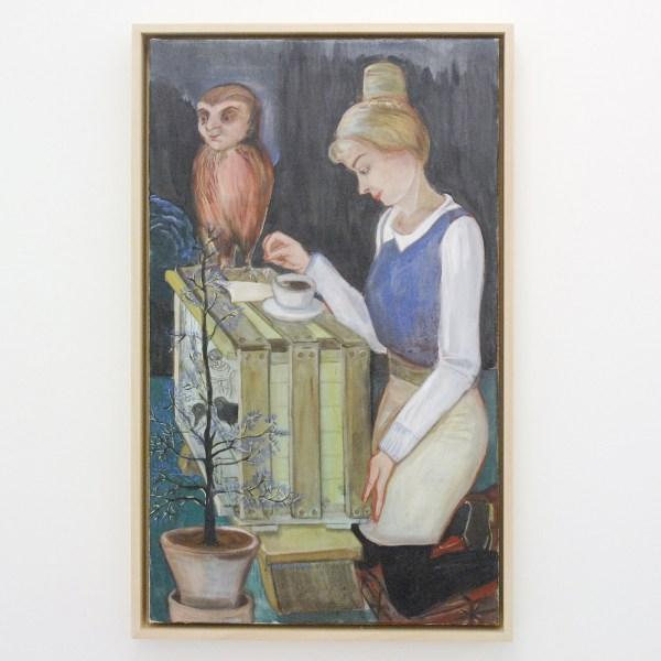 Rosa Loy - Vogelpendel - 85x51cm Caseine op canvas