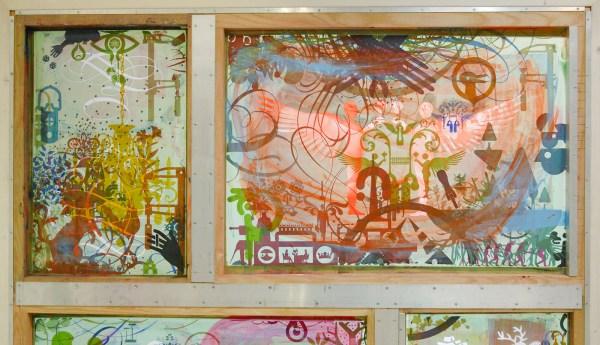 Ryan McGinness - Screen Combine 1 - 183x183cm Acrylverf en fotoemulsie op zeefdrukramen in aluminium frame (fragement)
