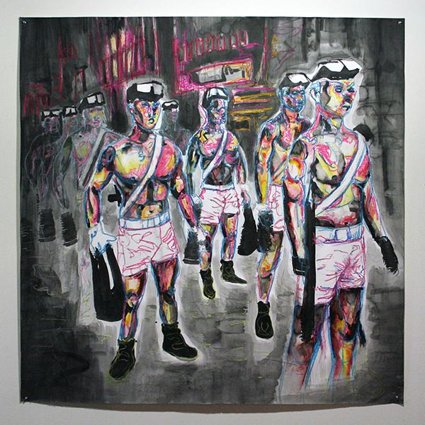 Sander Wiersma - Army Boys - 150x150cm Mixed Media op papier