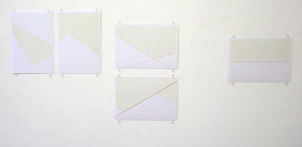 Sarah van der Lijn - Groen punt #1 & #2 &Groen Rood punt & Groen garen & groen rood - Kleurpotlood op papier
