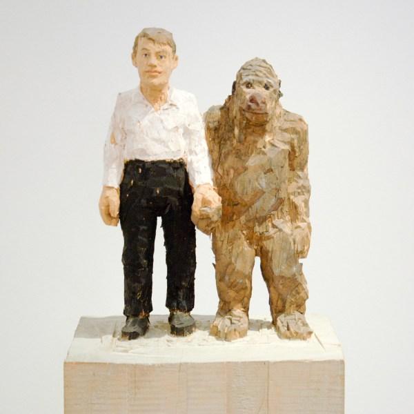 Stephan Balkenhol - Man With Gorilla - 159x35cm Wawa hout, 1997