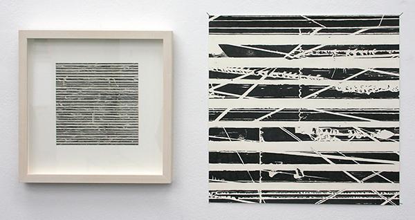 Stephan van den Burg - Zonder Titel (tweeluik) - 15x15cm Potlood en tape op papier, 34x34cm potlood op papier
