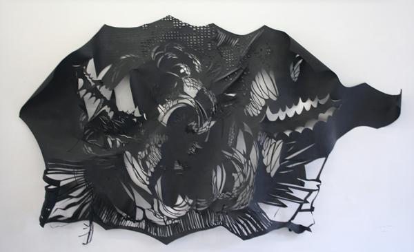 Ulrike Rehm - Explosie - 220x150cm Zwart papier