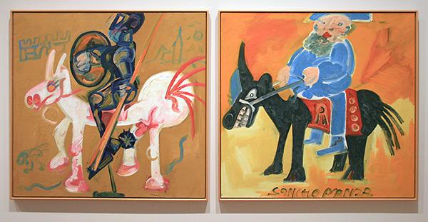 Wim Izaks - Don Quichot en Sancho Panza - Olieverf op doek 1980