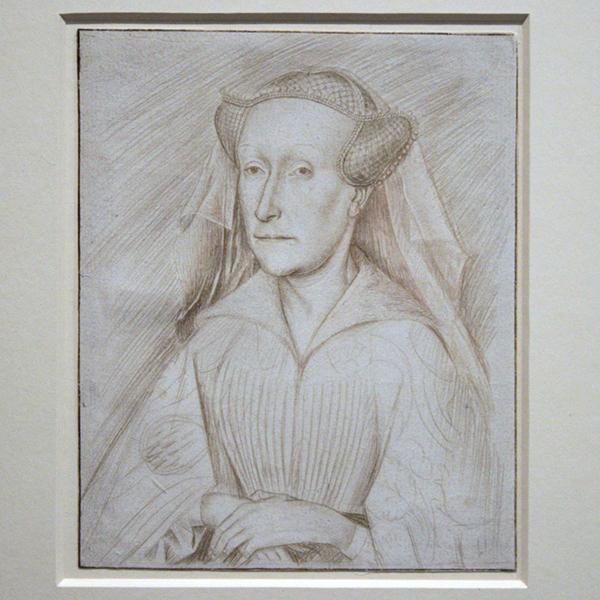 Zuidelijke Nederlanden - Portret van Jacoba van Beieren - Zilverstift op wit gegrond papier, naar voor beeld van Lambert of Jan van Eyck