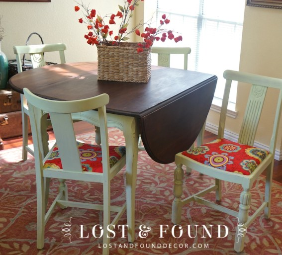 Refinished and painting dining table makeover