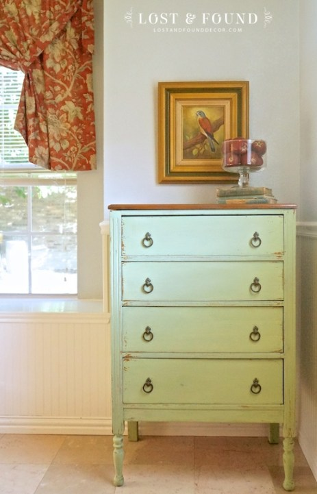 Green Milk Paint Chest of Drawers