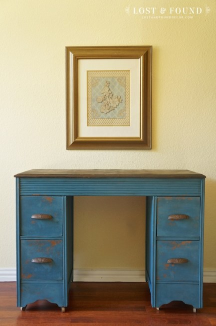 Flow Blue Small Desk, $185