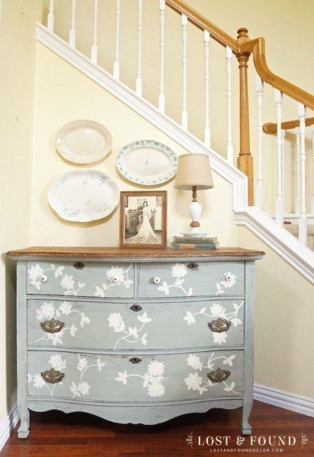 Layla's Mint Oak Dresser painted in milk paint