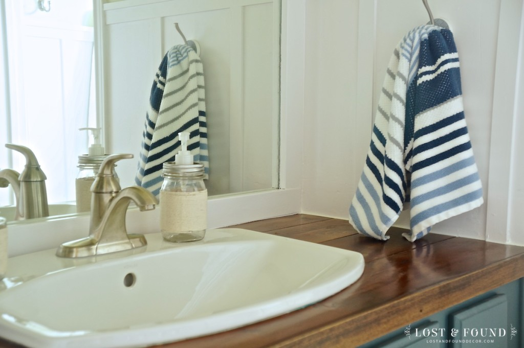bathroom upgrade with cedar wood vanity top